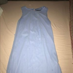 Blue dress w/ waist belt.